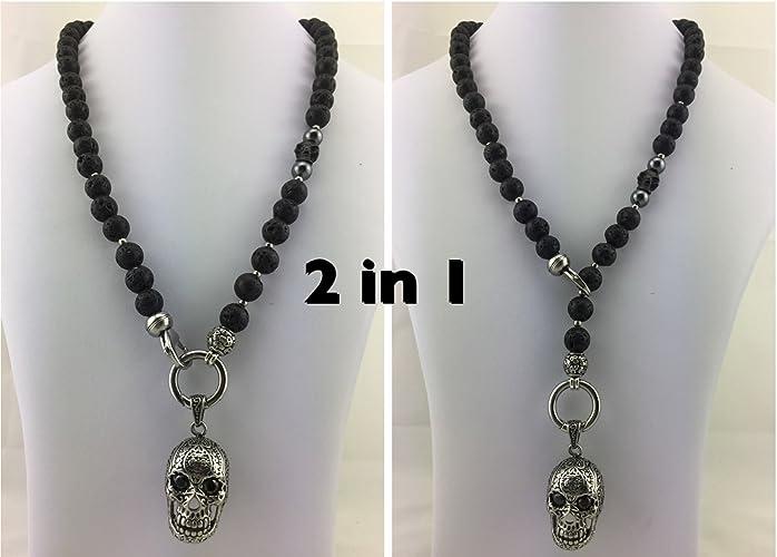 Neues Produkt 63f46 1cc45 coole 2in1 Halskette Y-Kette Rosenkranz Perlenkette Lava ...