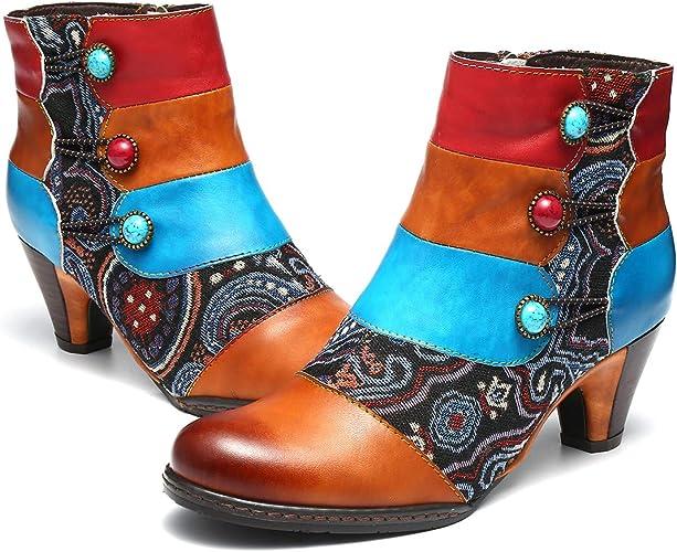 Women Winter Fur Lined Vintage Ankle Boots Zipper Lace Up Bohemian Boots Shoes