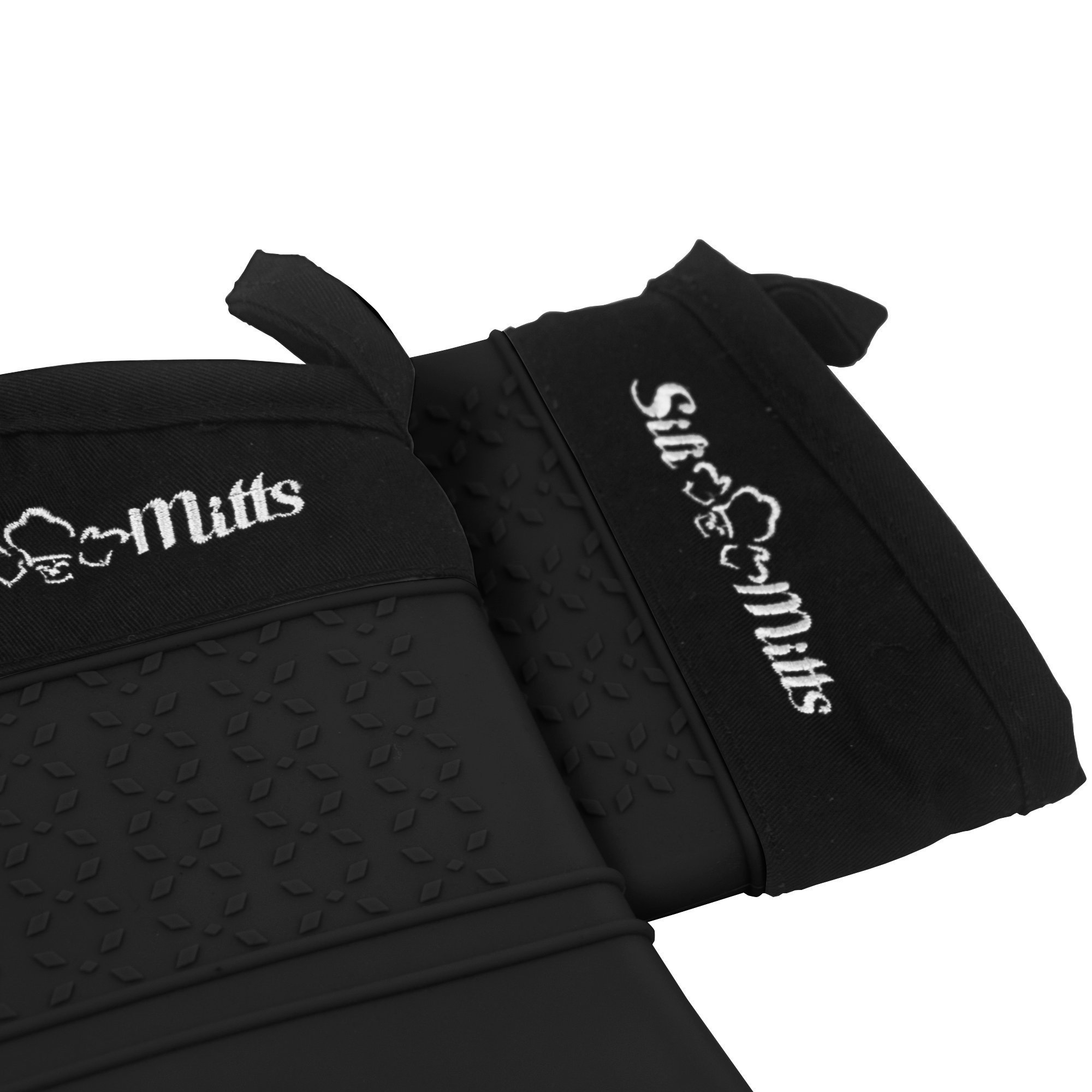 Black Silicone Oven Hot Mitts - 1 Pair of Extra Long Professional Heat Resistant Pot Holder & Baking Gloves - Food Safe, BPA Free FDA Approved With Soft Inner Lining by Frux Home and Yard (Image #4)