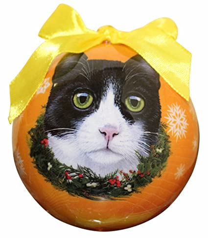 black and white cat christmas ornament shatter proof ball easy to personalize a perfect gift for - Black Cat Christmas Ornament
