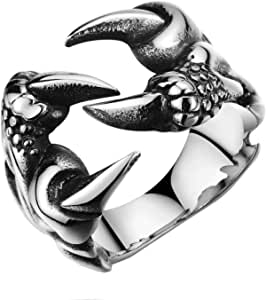 Titanium Steel Ring Men'S Ring Open Sharp Dragon Claw Ring