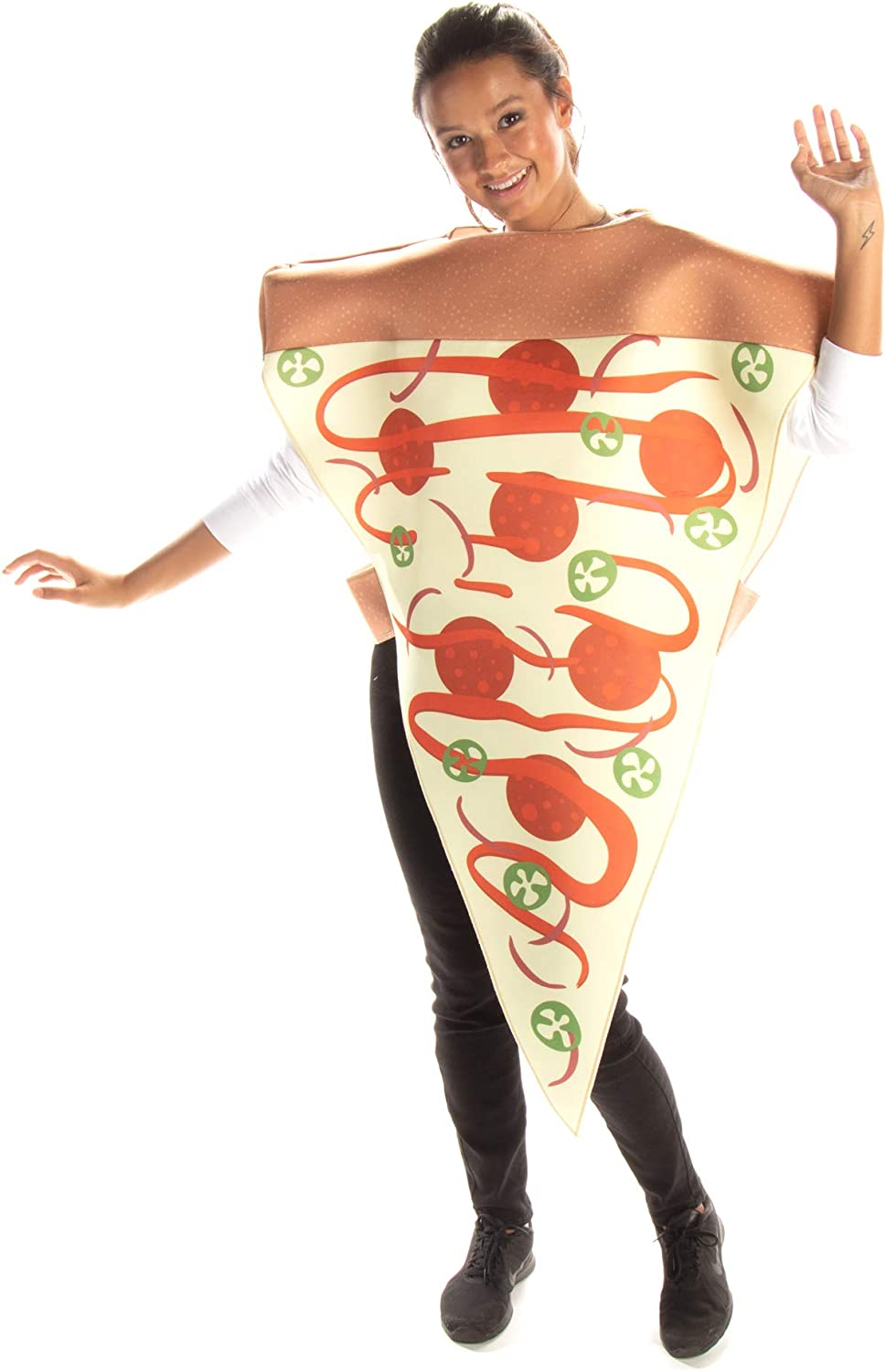 Supreme Pizza Slice Halloween Costume - Adult Unisex Outfit, Funny Food Costumes
