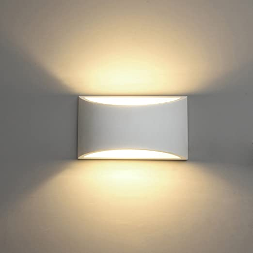 LED Wall Lights Indoor Modern White Plaster Wall Wash Lights 7W Warm ...