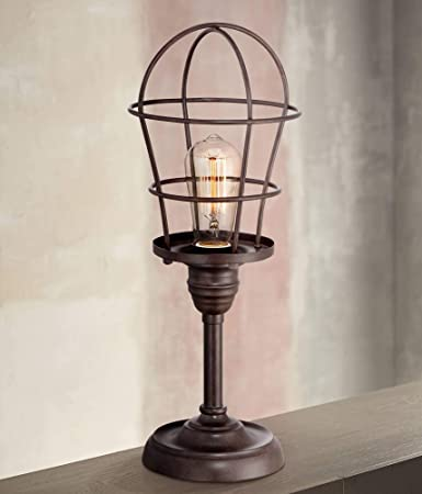 Charmant Modern Industrial Desk Table Lamp 17 1/4u0026quot; High Bronze Wire Cage Edison  Bulb