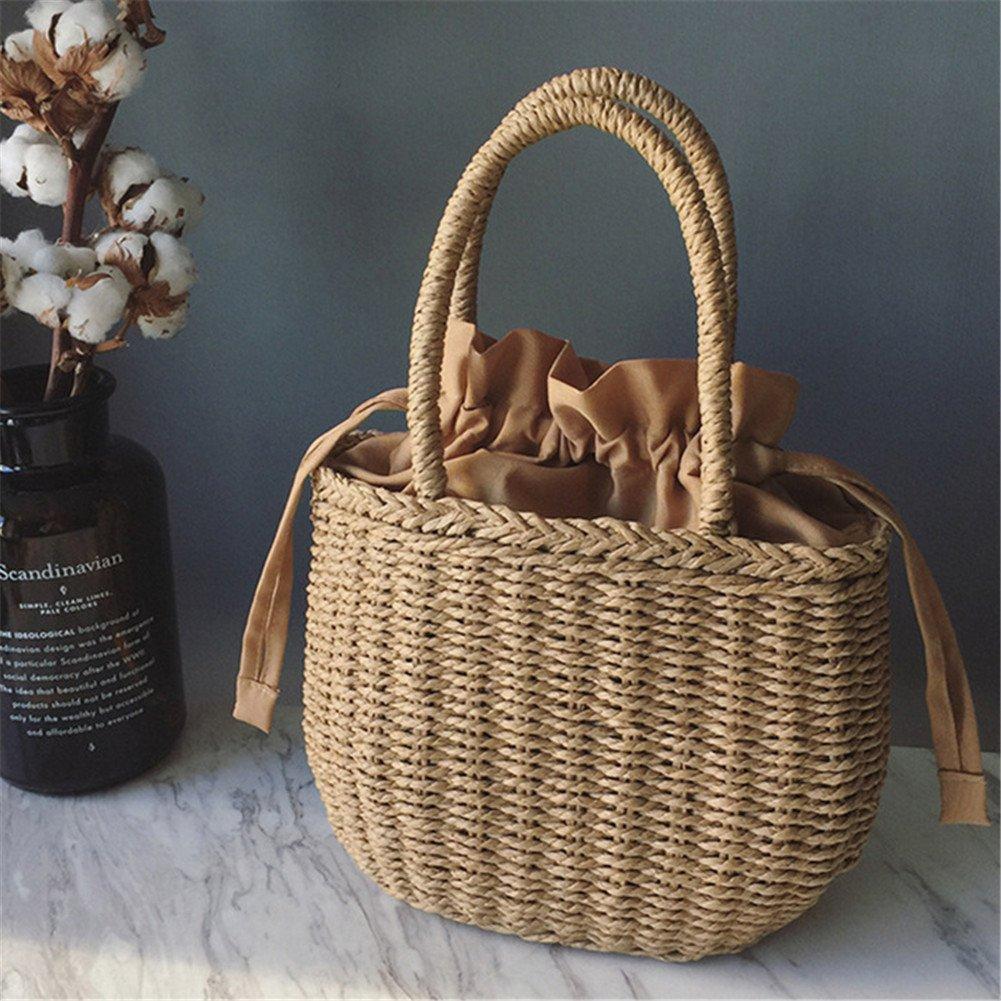 Lembeauty Borsa in rattan intrecciato, in stile retrò, da spiaggia, cestino portaoggetti per la casa, borsa da shopping