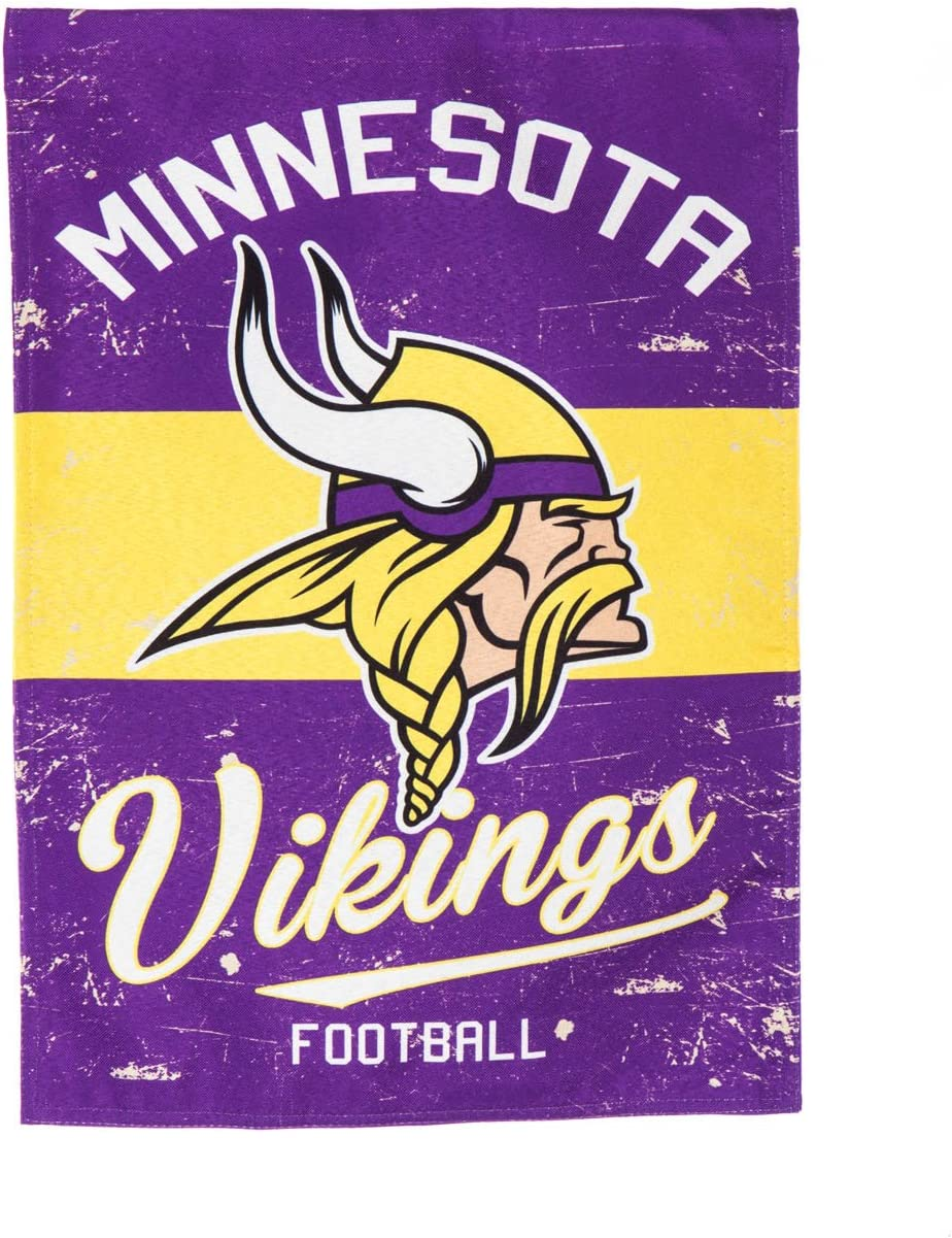"Team Sports America Minnesota Vikings NFL Vintage Linen House Flag - 28""W x 44""H Indoor Outdoor Double Sided Decor Flag for Football Fans"
