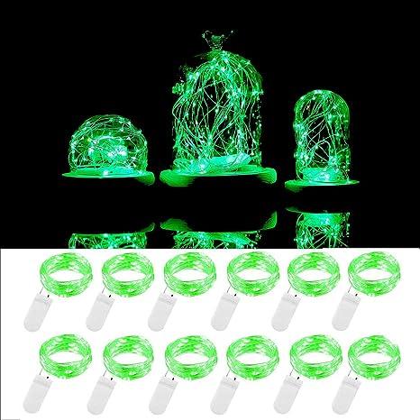ENUOLI 12 Green Pack 3,3 pies 10 LED Luz de Navidad con ...