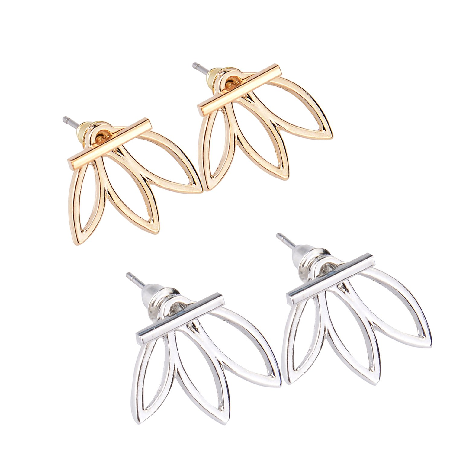 Diomate(TM) 2 Pairs Lotus Flower Earrings Jewelry Simple Chic Earrings Best Gift for Women Girls Petrel S11