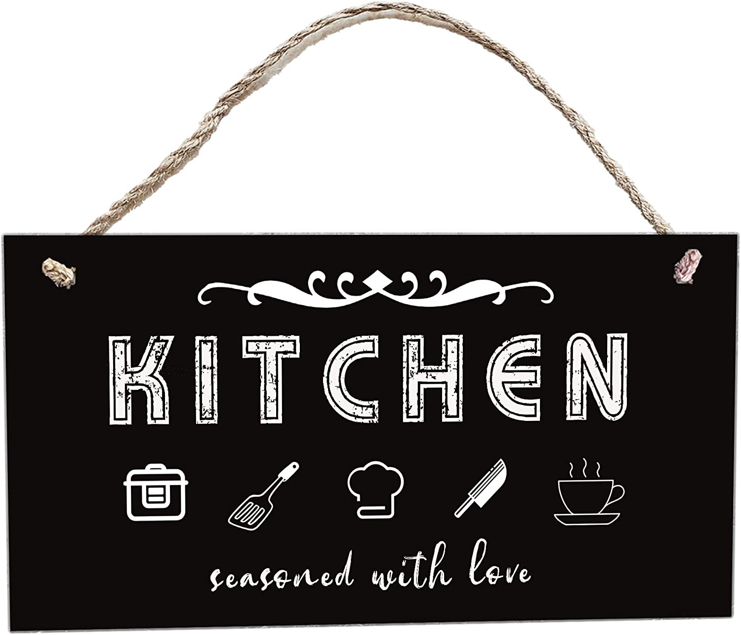 Kicthen Seasoned with Love Wall Kitchen Signs|Farmhouse Kitchen Decor|Rustic Wooden Sign Kitchen|Hanging Wall Art for Kitchen|Funny Saying Decorations for Kitchen, Moms Gifts|12X6-Inch(Black)