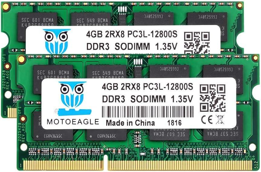 4GB DDR3 DDR3L-1600 SODIMM PC3L-12800S, Motoeagle 8GB Kit (2x4GB) 204-pin 2Rx8 PC3 12800S Dual Rank 1.35V Laptop Memory