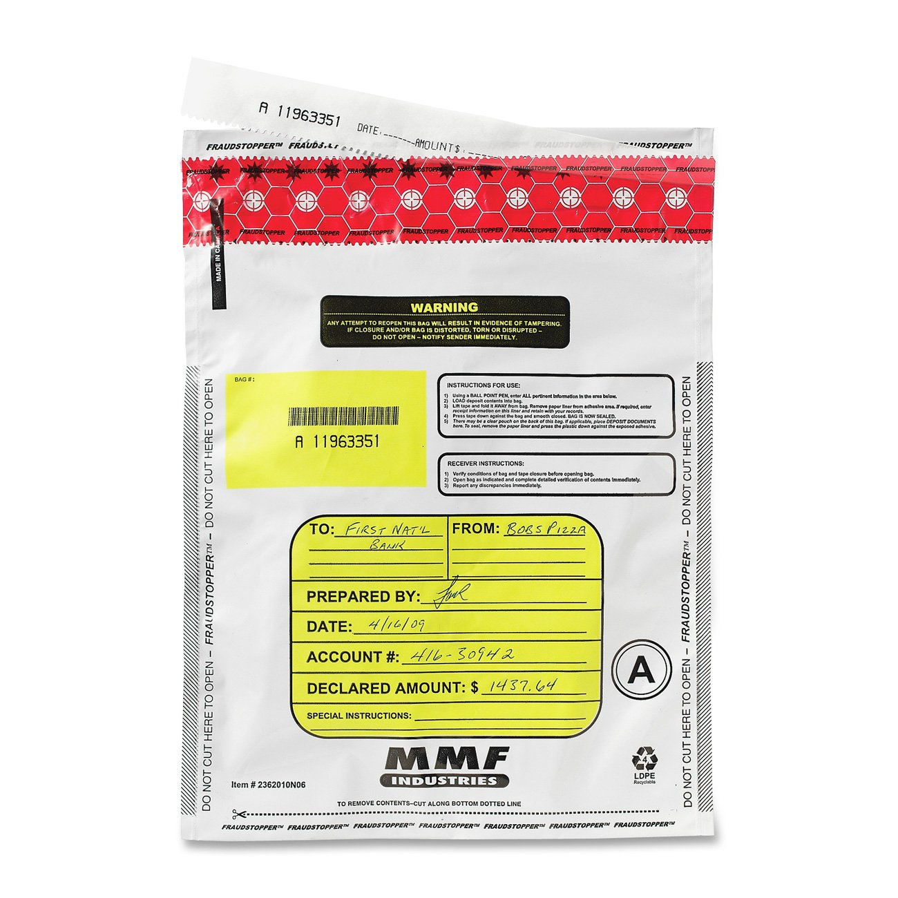MMF Industries Tamper-Evident Deposit Bags, 9-by-13-Inch, 100 Pack, White (2362010N06)