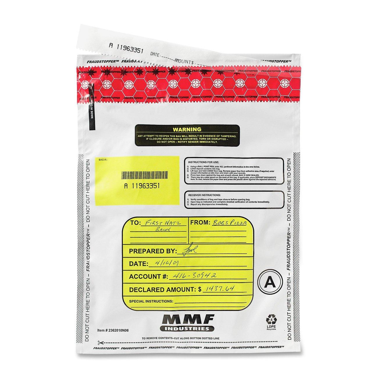 MMF Industries FraudStopper Tamper-Evident Deposit Bags, 2.5 mm, 9 x 12-Inch, 100 Bags per Box, Clear (2362010N20)