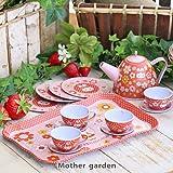 マザーガーデン Mother garden うさももちゃん 〔おままごと ブリキのティーセット〕 小花柄 14点セット お茶会 おもちゃ お店屋さん ごっこ遊び ままごとセット