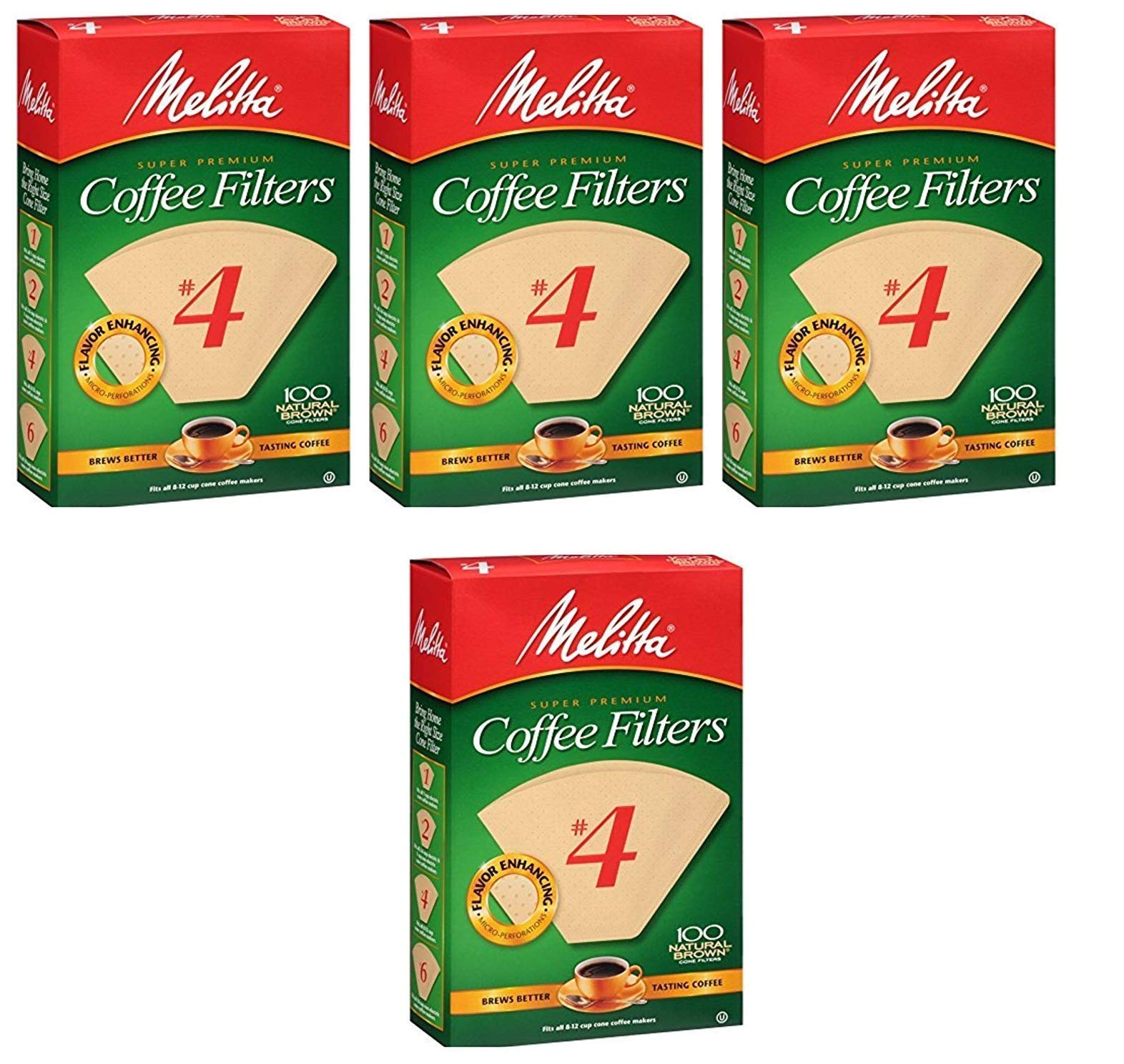 Melitta Cone Coffee Filters Natural Brown #4, Sold as 4 Pack, 400 Count Total