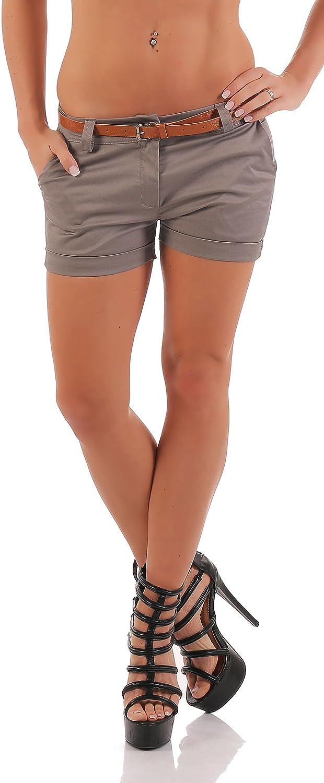 malito Damen Chino Shorts in Unifarben   lässige kurze Hose   Bermuda für den Strand   Pants - Hotpants 5397