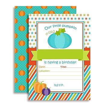 amazon com pumpkin boy birthday party invitations 20 5 x7 fill in