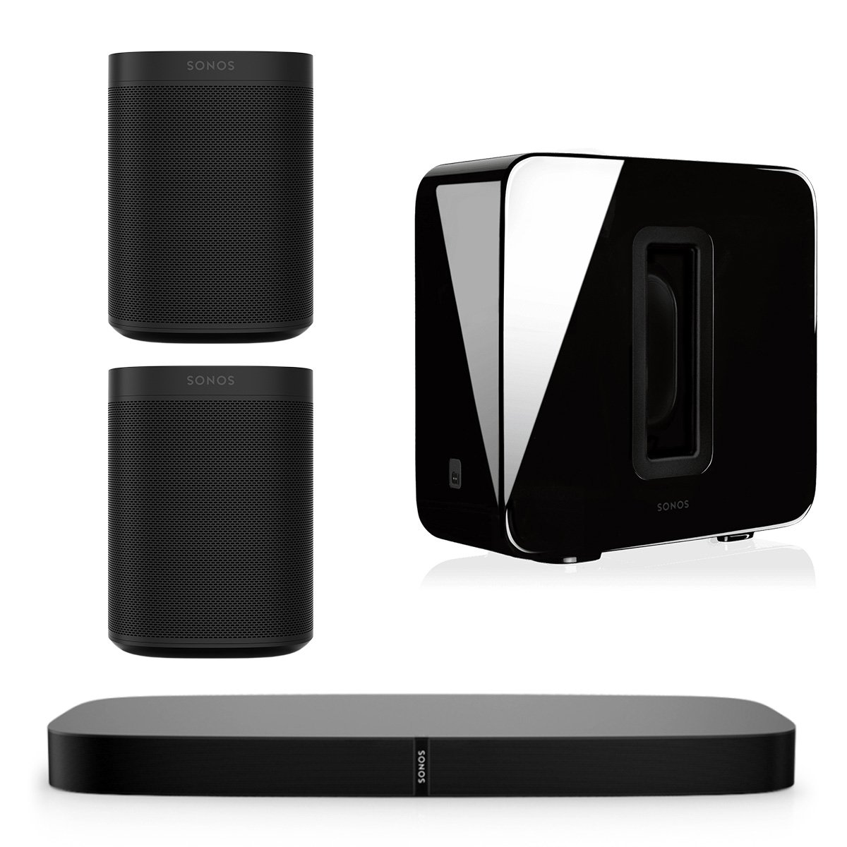 Sonos 5.1 PLAYBASE Home Theater System with Sonos ONE Streaming Speakers (Pair) and SUB Wireless Subwoofer (Black)