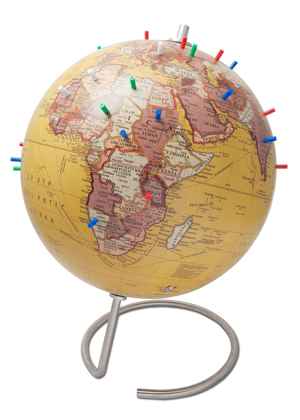 Bullseye Office - 10'' Antique Tan Magnetic Standing World Globe with Magnetic Pins - Perfect as Office Desk Globe, Geography Classroom Globe, or Travelers Globe [Kids or Adults]