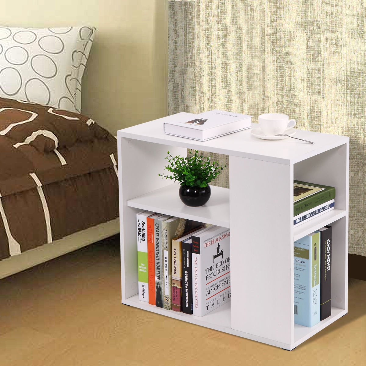 Side Sofa Table Coffee Tray Ottoman Couch Console Stand End Magazine Organizer White by Eramaix (Image #7)