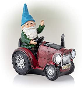 Alpine Corporation WQA1378SLR-RD Alpine Solar Red Riding Gnome Tractor Statue
