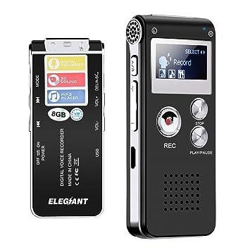 elegiant 8 GB digital Pantalla LCD estéreo dictado Tensiómetro grabación Tensiómetro MP3 Player, color negro: Amazon.es: Oficina y papelería