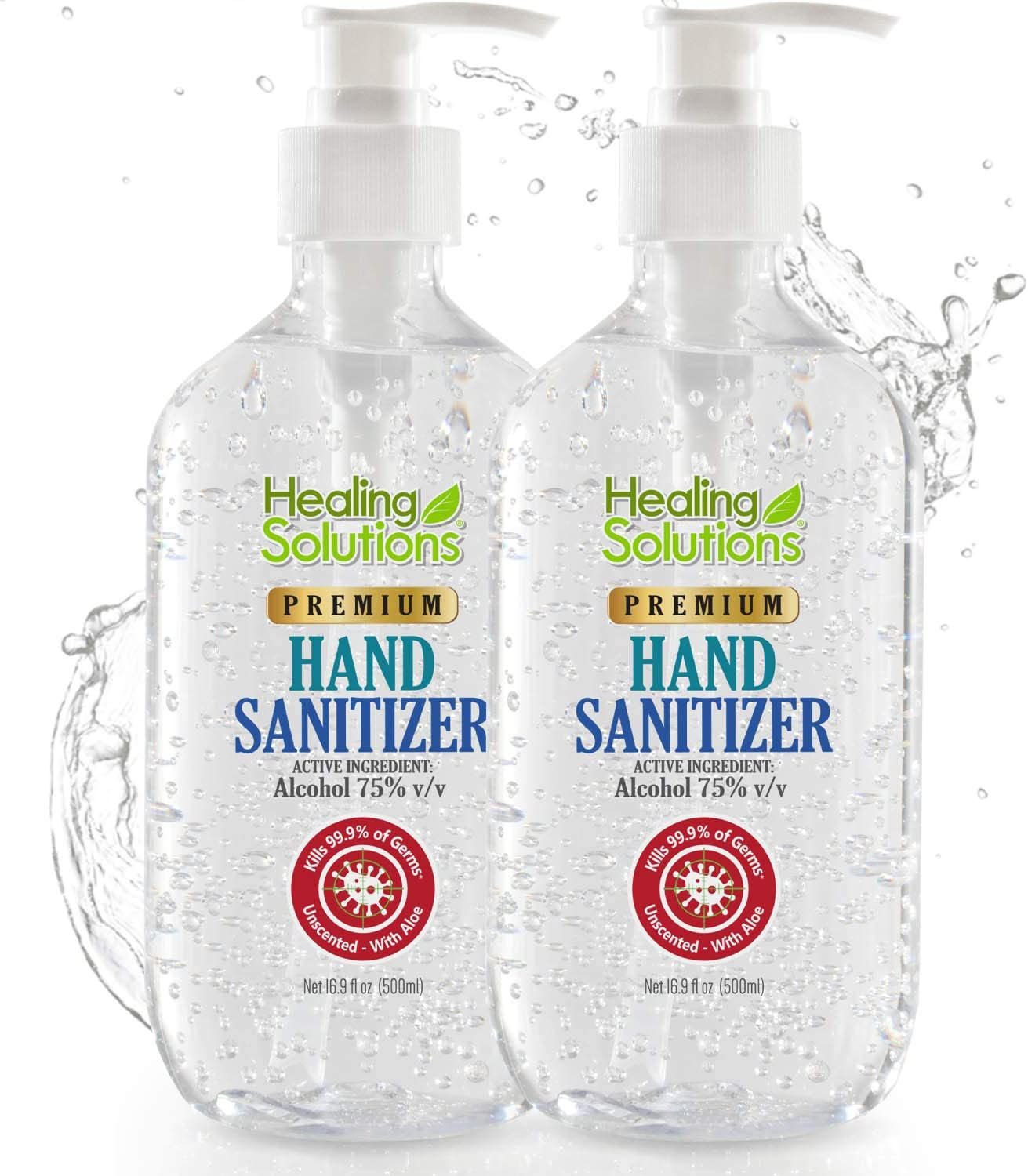 Hand Sanitizer Gel (2 Pack x 16.9oz) - 75% Alcohol - Kills 99.99% of Germs - Scent Free Antibacterial Gel with Vitamin E & Aloe for Moisturizing : Beauty