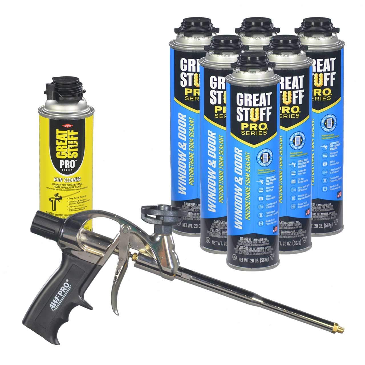 Dow Great Stuff PRO Window and Door 20 oz cans (6) + AWF Pro Foam Gun (1) + Dow Foam Cleaner (1) by Dow
