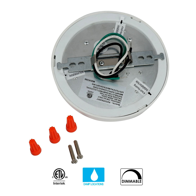 JULLISON 7 inch LED Slim Surface Mount Ceiling Light Fixture, 120V, 15W, 900LM, 3000K Warm White, CRI80, Driverless, ETL Certified, Damp Location, White - Round, 1 Pack by JULLISON (Image #5)