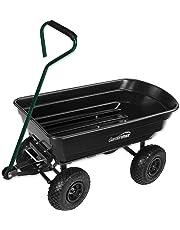 Garden Cart PRO Tip H/Duty 250kg Tuff Poly Tray Lawn Towing Trolley Wagon Pull