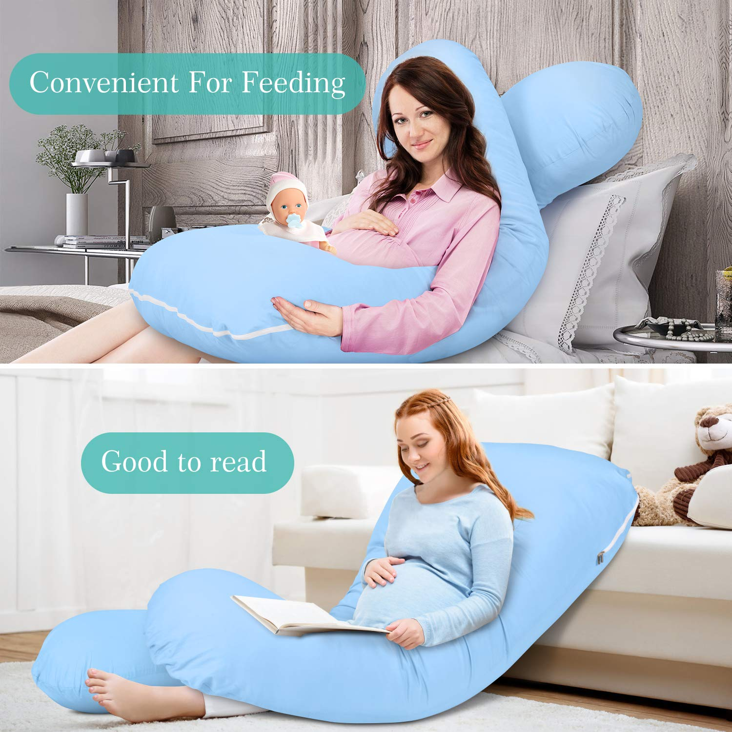 Amagoing 57 inches Pregnancy Pillow U Shaped Maternity Full Body Pillow for Women with Hip Washable Cotton Cover Included Blue Back Pain Leg
