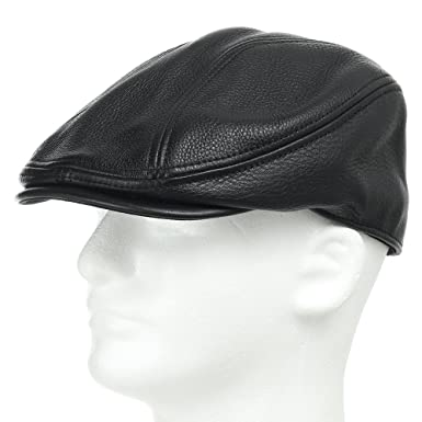 61880228dbe Stockton Driving Classic Leather Ivy Flat Caps Hat Newsboy Stylish Black 7  7 8