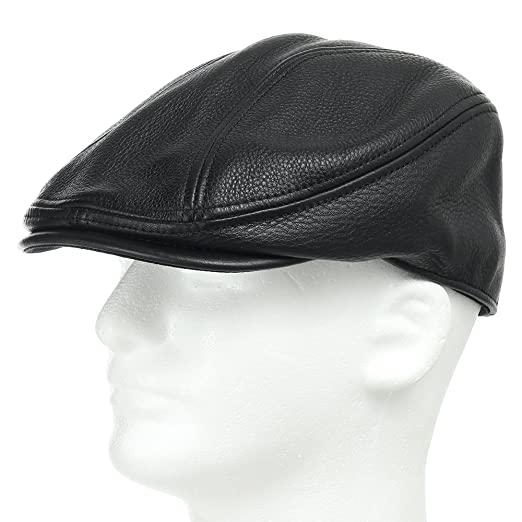 345b9445138 Stockton Driving Classic Leather Ivy Flat Caps Hat Newsboy Stylish Black 7  7 8