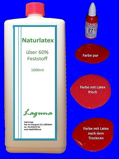 Látex líquido 1 L Látex natural + 20 ml Mixol Real de leche rojo látex goma