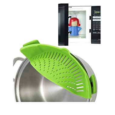 Clip On Silicone Strainer Colander Fits all Pots and Bowls. PLUS Angry Mama microwave steam cleaner