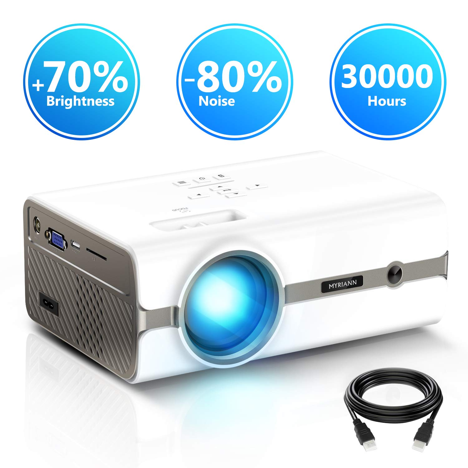 Projector,Myriann Portable Mini Multimedia Home Video LCD Projector Support 1080P for Home Theatre Support HD HDMI VGA AV USB Laptop iPhone/iPad Smartphone TV Stick Xbox,2018 Newest Upgraded