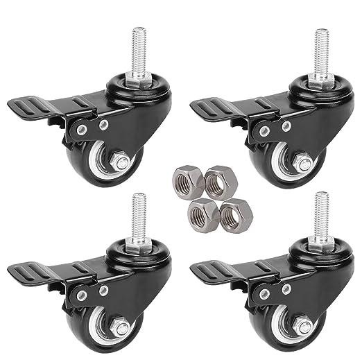 4 ruedas giratorias de 50 mm para uso intenso, de goma, con freno, para carro, de color negro, ruedas para muebles, con tuercas M10x25, ...