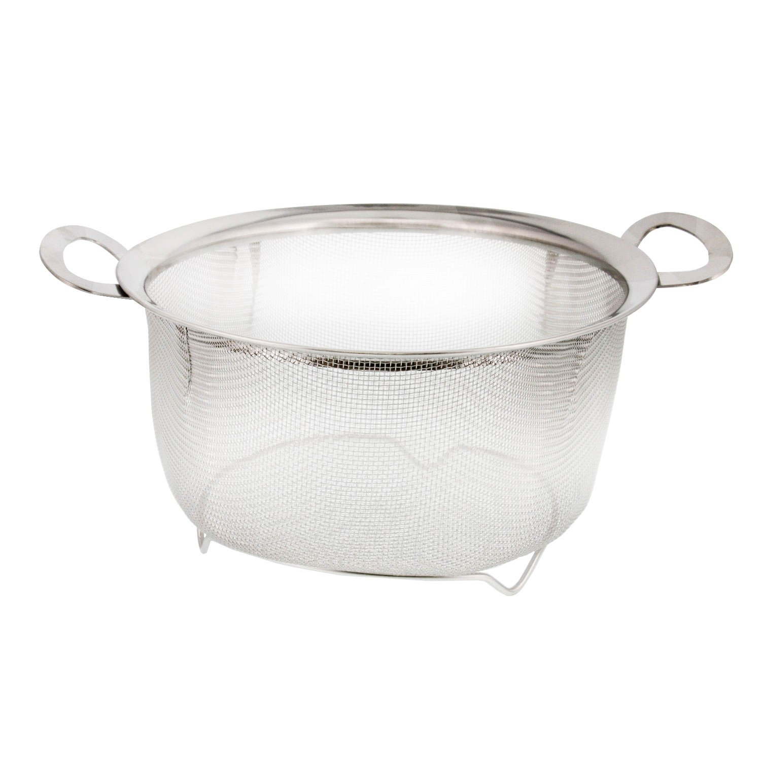 U.S. Kitchen Supply 3 Quart Stainless Steel Mesh Net Strainer Basket with a Wide Rim, Resting Feet and Handles - Colander to Strain, Rinse, Fry, Steam or Cook Vegetables & Pasta