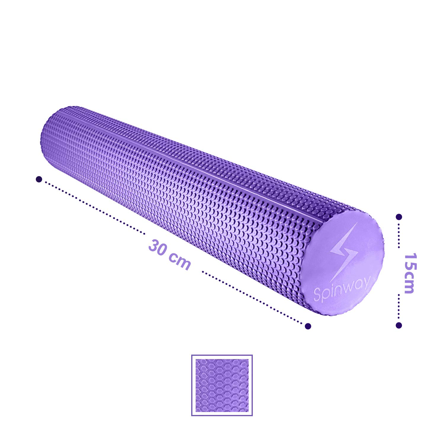 spinway Yoga Foam Roller Speckled Foam Rollers for Muscles Extra Firm High Density for Physical Therapy Exercise Deep Tissue Muscle Massage (Purple) by spinway (Image #3)