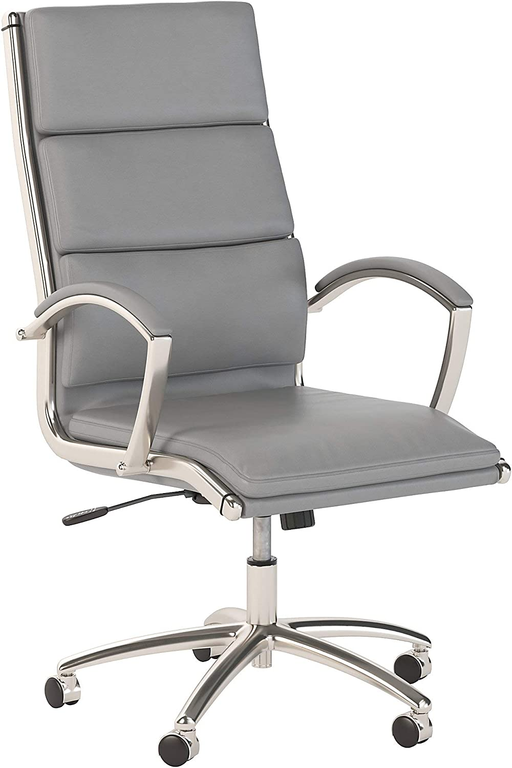Bush Business Furniture 400 Series High Back Leather Executive Office Chair in Light Gray