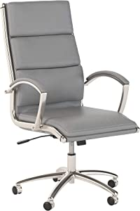 Bush Business Furniture Modelo High Back Leather Executive Office Chair in Light Gray