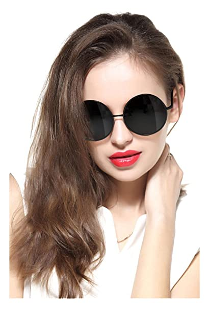 658ca06c8a GEELOOK Oversized Round Circle Mirrored Hippie Hipster Sunglasses - Metal  Frame (Black Matte Frame