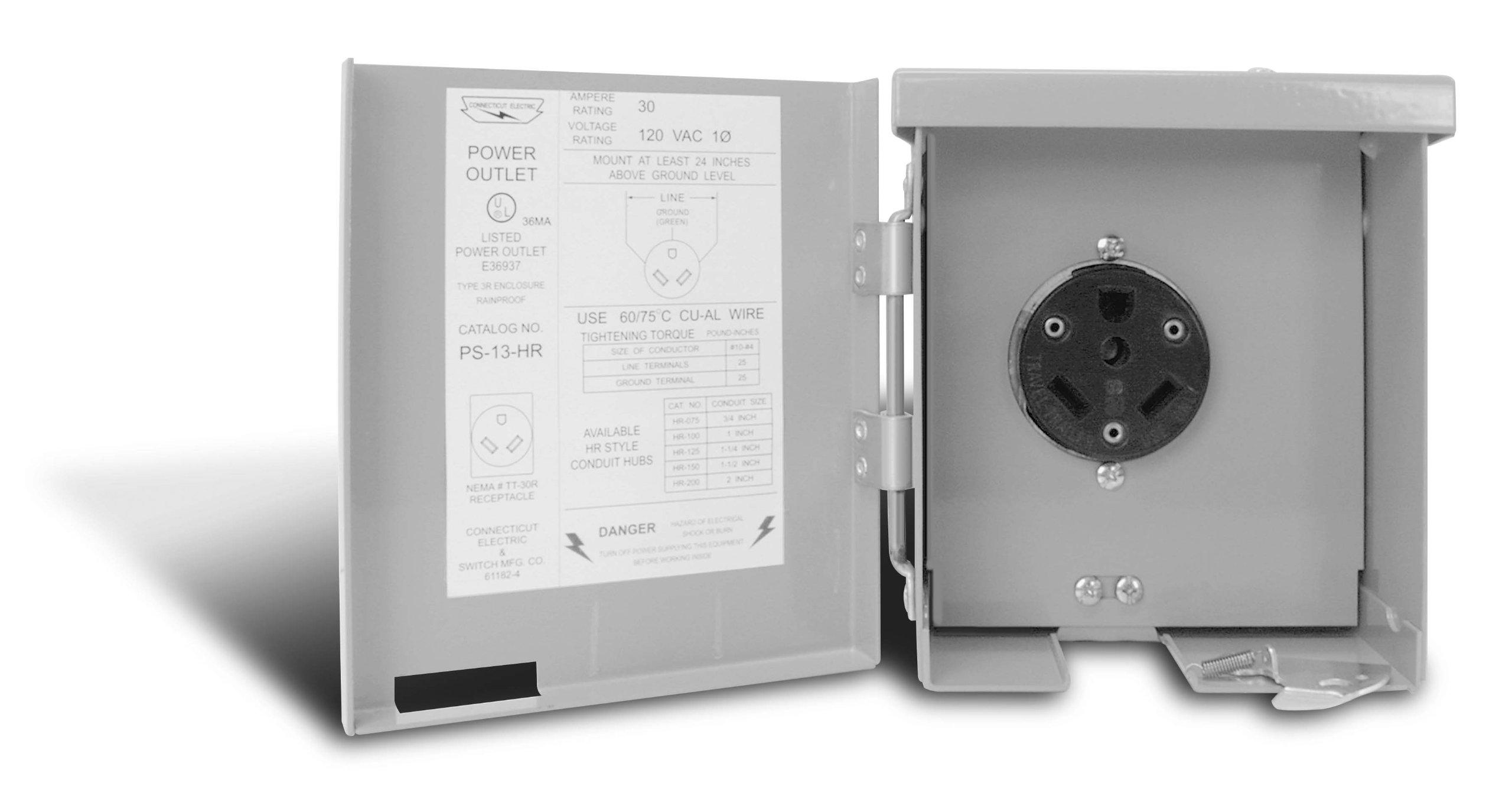 Connecticut Electric CESMPS13HR 30-Amps/120-Volt RV Power Outlet