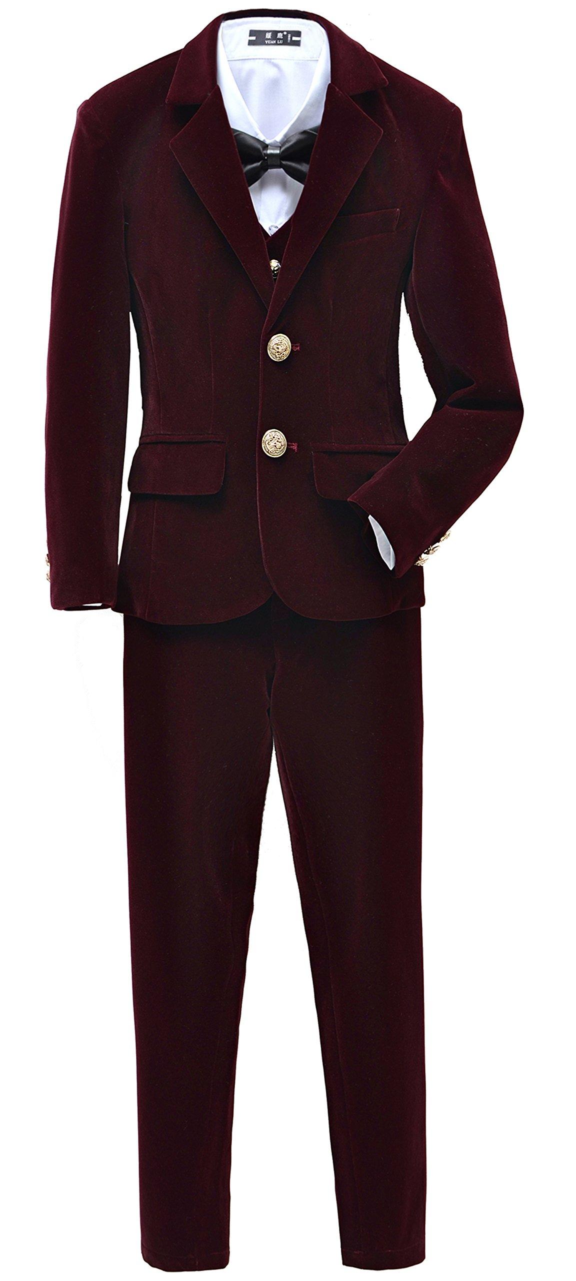 Yuanlu Boys Velvet Suits 5 Piece Slim Fit Dress Suit Set Size 4 Burgundy For Wedding