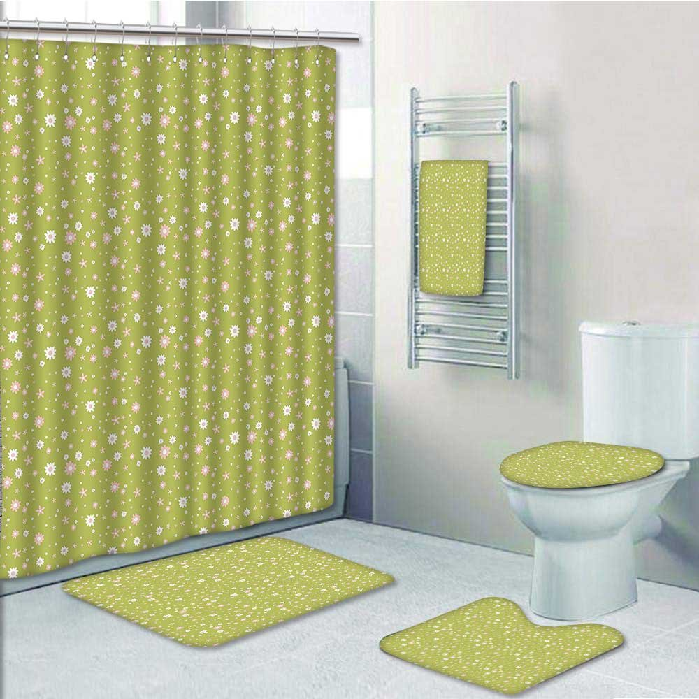best PRUNUS Designer Bath Polyester 5-Piece Bathroom Set,and Small Blooms Doodle Style Green Light Pink White Print bathroom rugs shower curtain/rings and Both Towels(Medium size)