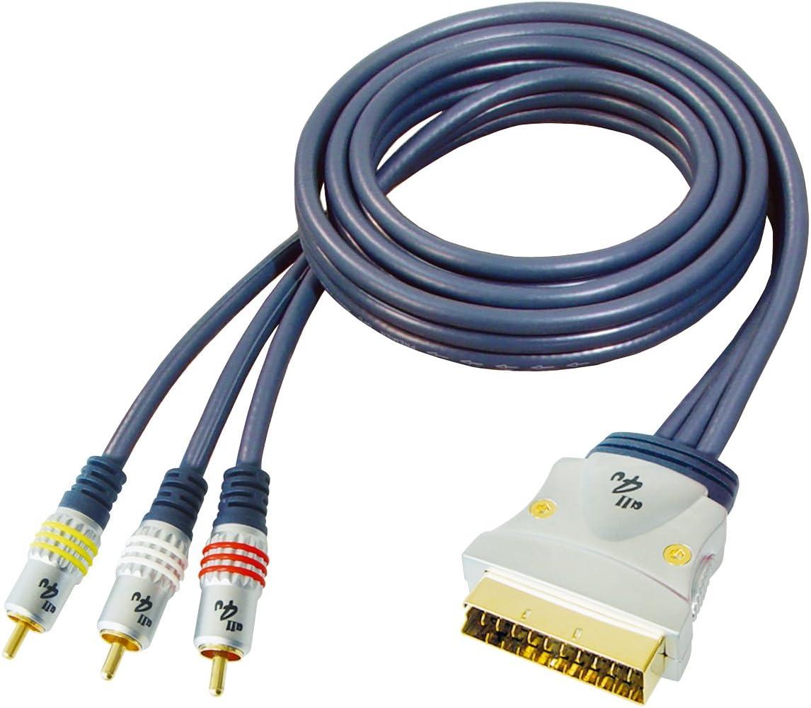 Chrom/é Full-contact 1,5 m Bleu Fonc/é all4U BBVM11-1,5L C/âble S/érie bleue RCA//Scart M/âle//M/âle 3x//21-multip/ôle