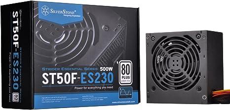 SilverStone SST-ST50F-ES230 v 2.0 - Serie Strider Essential, 500W 80 Plus 230V EU ATX PC Fuente de alimentación, Baja sonoridad 120mm: Amazon.es: Informática