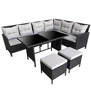 Svita Poly Rattan Ecksofa Rattan Lounge Esstisch Gartenmobel Set