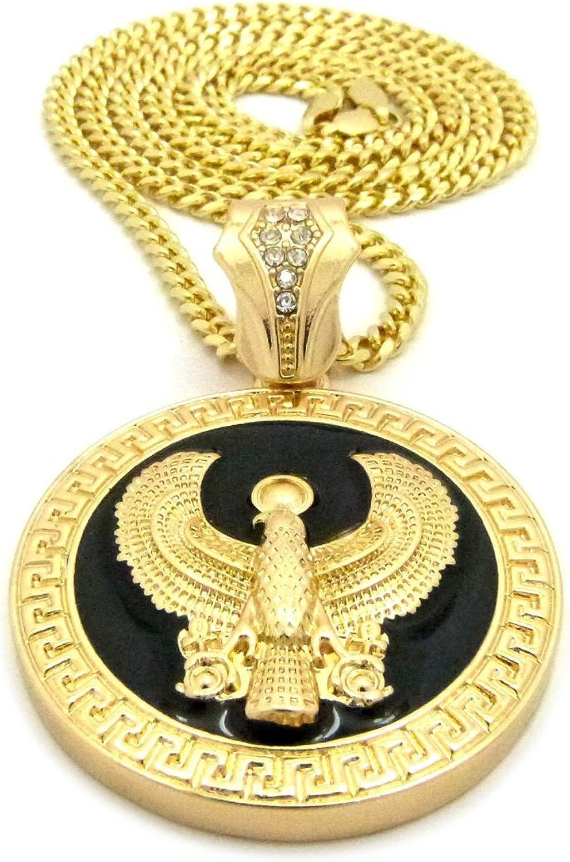 Fashion 21 Egyptian Sky God Horus Bird Round Pendant 30 36 Various Chain Necklace Gold Black Tone