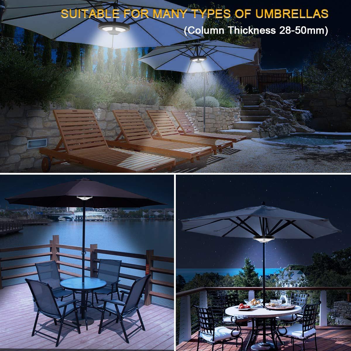 L/ámpara de paraguas para patio Jirvyuk 36 LED, 2 modos de brillo, iluminaci/ón inal/ámbrica para interior y exterior, para camping, jard/ín, con 3 pilas AA