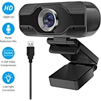 Webcam 1080P with Microphone, Desktop Laptop Webcam, Streaming Webcam for Computer Widescreen Video Calling and Recording, USB HD Webcam Built-in Mic, Flexible Rotatable Clip